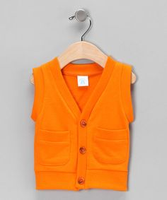 This Orange Button-Up Vest - Infant by RuggedButts is perfect! #zulilyfinds