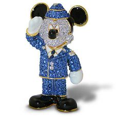 Disney Parks Mickey Air Force Jeweled Figurine by Arribas Brothers New with Box