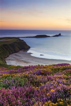Rhossili Bay, Wales UK The UK has some gorgeous beaches—even if the weather isn't ideal for sunbathing. Rhossili Bay on the tip of Gower Peninsula in Swansea is particularly pretty–just look at those blooms. Most Beautiful Beaches, World's Most Beautiful, Beautiful World, Beautiful Places, Beautiful Pictures, Beach Images, Beach Pictures, Playa Railay, Rhossili Bay