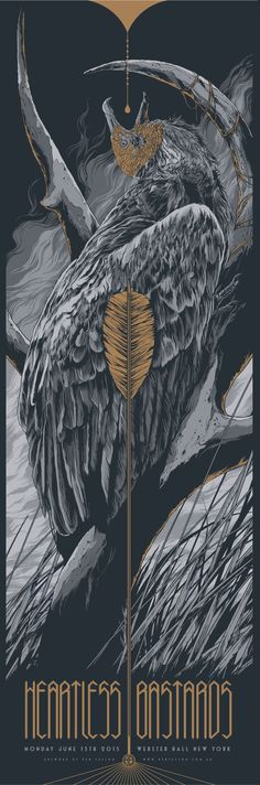 Yo, Ken Taylor knows how to draw birds! Heartless Bastards 12″ x 36″ Screenprint, Edition of 52