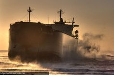 The giant Pasha Bulker beached on the shore of New South Wales, Australia