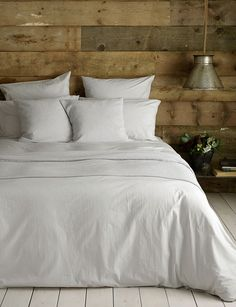 Washed Cotton Percale Light Grey Bedding Set