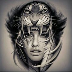 Woman and tiger tattoo design