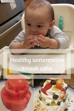 Watermelon Cool Whip Smash Cake for 1 year old Birthday Party Watermelon Cake, Thing 1, Salty Cake, Cool Whip, All Family, Led Weaning, 1 Year Olds, Three Kids, Savoury Cake