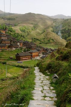 Dazhai Village, a small minority village in rural China near the City of Guilin. This is one of several small villages surrounded by the Longii Rice Terraces. It is inhabited by the Yan people, in Hunan_ China