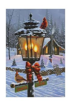 christmas scenes Trademark Global Geno Peoples Cardinal Perch 2 Canvas Art - 32 x 22 x 2 Noel Christmas, Vintage Christmas Cards, Christmas Pictures, All Things Christmas, Xmas, Winter Christmas Scenes, Winter Scenes, Christmas Jigsaw Puzzles, Illustration Noel