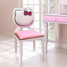 Hello Kitty Desk Chair-Sit like a princess with the Queen of Cute, Hello Kitty! The Hello Kitty desk chair is the perfect accent piece for any fan of the adorable white cat. Going beyond just cute, the Hello Kitty chair is solidly construction and fu