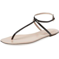 Sergio Rossi Coated Leather Thong Sandal (210 CAD) ❤ liked on Polyvore featuring shoes, sandals, black, black leather sandals, flat leather sandals, ankle wrap sandals, ankle strap sandals and thong sandals
