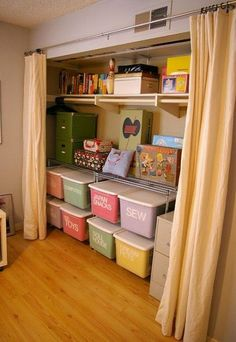 Closet studio storage-- this is similar to what I want to do with my office/craft room. Remove the closet doors that slide and put all the supplies and things in there with some nice storage/organization setup. Craft Organization, Craft Storage, Closet Organization, Storage Bins, Storage Design, Storage Room, Closet Storage, Organizing Ideas, Storage Solutions