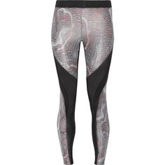 Koral - Frame Mesh-paneled Printed Stretch-jersey Leggings (3,385 PHP) ❤ liked on Polyvore featuring activewear, activewear pants, multi, stretch jersey and koral activewear