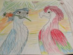 Bia from Rio 2, older falling in love with a red macaw... Romeo and Juliet all over again....