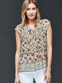Floral print tie blouse