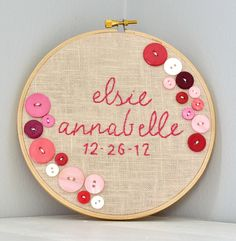 embroidery hoop birth announcement with buttons.