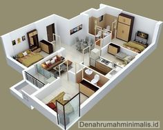 Denah Rumah Minimalis Sempit 3D 1 Lantai 3 Kamar Tidur