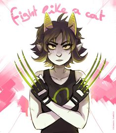 I love these pictures where Nepeta looks like a BAMF because other pictures she looks like a little kid like younger than the other trolls and it annoys me like she isn't three she could probably kill anyone she wants in the right state of mind
