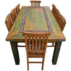 Conjunto Mesa + 8 Cadeiras Rústicas em Peroba Rosa - 5021