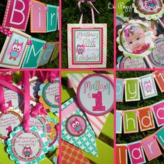 Owl Birthday Party Decorations Package  The by PartyOnPurposeShop, $137.00