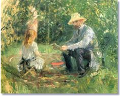 Berthe Morisot, Her husband Eugene Manet with her daughter. One of the first males she ever painted. (not that she didn't like them, but in her social class, at the time it was frowned upon, to have a male model)