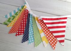 Birthday Party Decoration Fabric Banner Flags by thespottedbarn