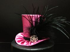Pink and Black Satin Mad Hatter Mini Top Hat for by daisyleedesign