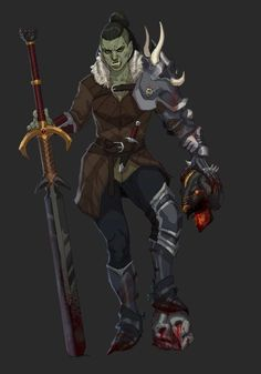Dungeons And Dragons Characters, D D Characters, Fantasy Characters, Fantasy Character Design, Character Design Inspiration, Character Art, Character Ideas, Dnd Orc, Female Orc