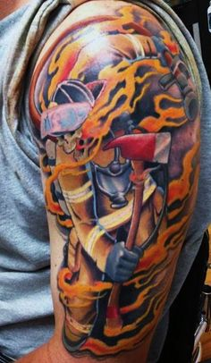 Skully Firefighter & Flames Tattoo (shoulder) | Shared by LION