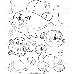 Free printable coral reef fishes, jellyfish, starfish