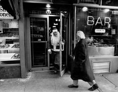 Bruce Gilden - New York City. 1968. Santa leaving bar, 1968, silver gelatin print