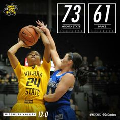 #WATCHUS WIN! Shockers-73, Drake-61; Wichita State Women's Basketball still undefeated in the Missouri Valley Conference (12-0), 21-2 overall.