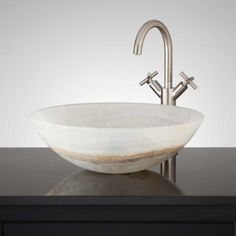 Tabbris White Onyx Round Vessel Sink