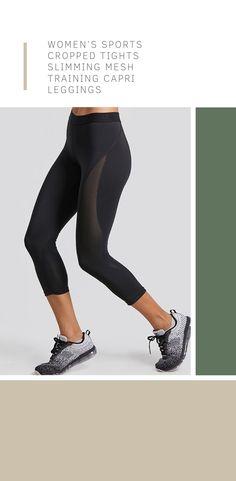 6ad80b3f751d8 Women's Sports Cropped Tights Slimming Mesh Training Capri Leggings