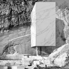 MARMOR II   architectural volume and caryatid sculpture sculpted contextualized in abandoned marble quarry   artwork and visual research by @hannespeer architecture   2015-ongoing   © hannes peer architecture 2016