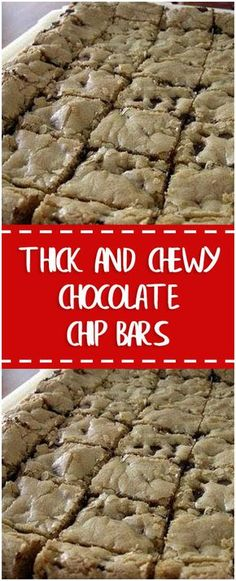 Thick and Chewy Chocolate Chip Bars – Fresh Family Recipes Brownie Desserts, Oreo Dessert, Mini Desserts, Coconut Dessert, Dessert Bars, Just Desserts, Delicious Desserts, Yummy Food, Baking Recipes