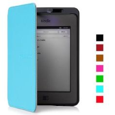 Mulbess Amazon Kindle Touch Hülle aus echtem Leder mit Leseleuchte für Kindle Touch Farbe Tiffany Blau
