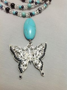 Turquoise Necklace with Butterfly Pendant and от OritWhiteLight