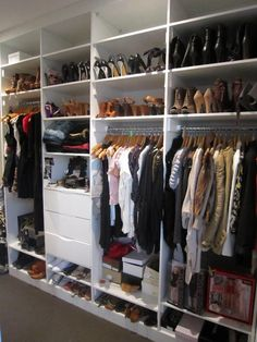 I need someone to give me a big closet like this and organize it for me. I have two closets and two dressers and yet I still dont have enough space for all my clothes :/