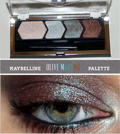 "Maybelline EyeStudio Color Plush Eyeshadow Quad, ""Olive Martini,"" Photographs, Swatches, & Look"