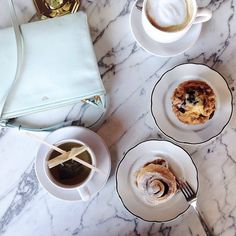 coffee, pastries, and a pastel colored Celine
