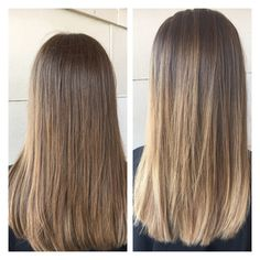 Balayage light brown and blonde. Medium length hair.