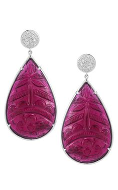 Carved Rubellite, Diamond And Gold Earrings by Dana Rebecca
