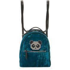 Les Petits Joueurs Back Mick Metal Panda Backpack ($680) ❤ liked on Polyvore featuring bags, backpacks, turquoise, top handle bags, panda bag, panda bear bag, shoulder strap backpack and backpack bags