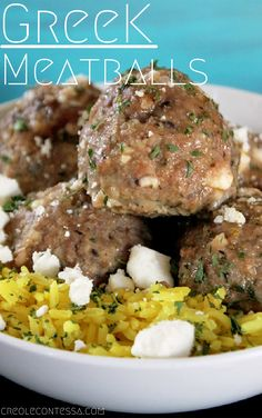 Baked for a healthier, lighter appetizer or meal, these meatballs combine ground lamb and turkey for loads of lamb flavor. Add pureed onions, garlic, mint, feta cheese, egg and spices to the meat mixture and don't forget a little bread soaked in a little milk to hold everything together.