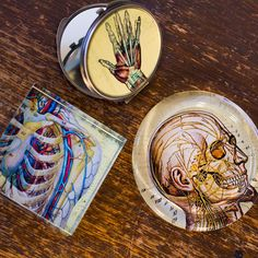 Anatomical Paperweight: $5.95 | Hand Compact Mirror: $5.95 | Anatomical Coaster: $2.95 www.earthboundtrading.com