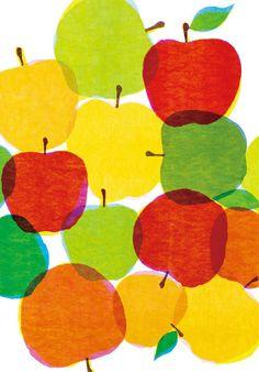 Kazuaki Yamauchi idea for kitchen blind, applique fruit and veg shapes Textile Patterns, Print Patterns, Pattern Art, Pattern Design, Pomes, Alphonse Mucha, Pattern Illustration, Apple Illustration, Grafik Design