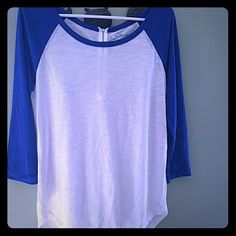 Zippers are Everywhere Beautiful Blue Top Very sheer! You have to wear a top underneath. No stains. Worn only a few times, hand washed never dried. Slightly longer in the back. 3/4 sleeve. 60% rayon , 40% polyester. American Eagle Outfitters Tops Tees - Long Sleeve