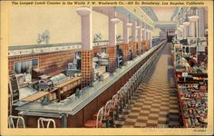 The Longest Lunch Counter in the World. F. W. Woolworth Co Los Angeles California