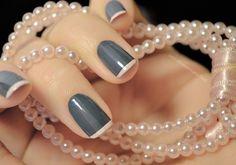 French Tip Bridal Nails- We put together the most elegant, glamorous, chic and fun nail art to showcase your engagement ring. #nails #nailart #nailpolish #bridal #bride #bridesmaids #pink #grey