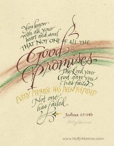 """Print of Joshua 23:14 in earth tones, """"You know... that not one of all the GOOD PROMISES the Lord your God gave you has failed."""" Various sizes."""