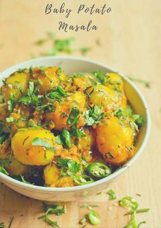 Recipe for baby potato masala & baby potatoes in creamy curry. Perfect side dish that can be served with roti & chapati or rice. Indian Beef Recipes, Goan Recipes, Curry Recipes, Vegetarian Recipes, Ethnic Recipes, Potato Masala Recipe, Ginger Ale Recipe, Indian Soup, Baby Potatoes