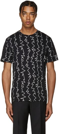 CHRISTOPHER KANE Black Zig Zag T-Shirt. #christopherkane #cloth #t-shirt